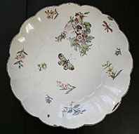 antique pottery image - FINE CHELSEA PORCELAIN RED ANCHOR PERIOD LOBED DISH WITH FLOWERS AND INSECTS C.1752-56