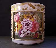 FINE REGENCY ENGLISH PORCELAIN DERBY PORTER MUG, PAINTED FLORAL GROUP, ATTRIBUTED TO EDWIN STEELE C.1820