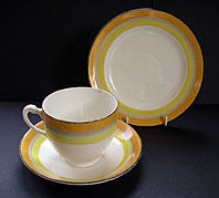 GRAY'S POTTERY STAFFORDSHIRE ART DECO HAND PAINTED DECO-BANDED TRIO PATTERN NO. 8793 C.1931