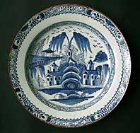 antique blue and white pottery image - AN ENGLISH DELFTWARE ABIGAIL GRIFFITH LONDON LAMBETH TIN-GLAZED CHARGER C.1770-85