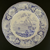 ANTIQUE STAFFORDSHIRE BLUE AND WHITE POTTERY JOHN MEIR ITALIAN SCENERY SERIES TRANSFER PRINTED PLATE C.1820-45