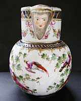 HIGHLY DECORATIVE PARIS PORCELAIN, WORCESTER STYLE MASK JUG - PROBABLY MADE BY SAMSON OF PARIS C.1880-1900