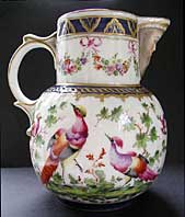 HIGHLY DECORATIVE PARIS PORCELAIN WORCESTER STYLE MASK JUG - PROBABLY MADE BY SAMSON OF PARIS C.1880-1900