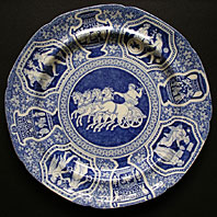 antique blue and white pottery image - Spode Staffordshire Blue & white greek pattern pearlware plate c.1805-25