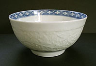 antique blue and white pottery image - WORCESTER PORCELAIN CHRYSANTHEMUM RELIEF PATTERN BLUE AND WHITE WORKMAN'S MARK BOWL C.1757-60