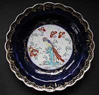 WORCESTER FIRST PERIOD KAKIEMON HO HO BIRD DECORATION, SIR JOSHUA REYNOLDS PATTERN DISH C.1770