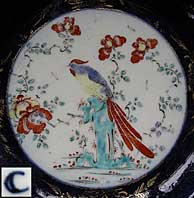 antique pottery image - WORCESTER FIRST PERIOD KAKIEMON HO HO BIRD DECORATION, SIR JOSHUA REYNOLDS PATTERN DISH C.1770