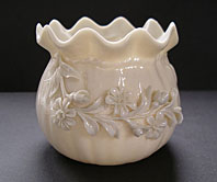 Belleek pottery image - STUNNING BEST BELLEEK IRISH PORCELAIN CRINKLED FLOWER POT VASE C.1891-1926