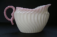 Belleek pottery image - FINEST ANTIQUE BELLEEK IRISH PORCELAIN RARE PINK SCROLL PATTERN CREAM JUG SECOND BLACK MARK BELLEEK C.1891-1926