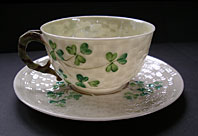 Belleek pottery image - BELLEEK POTTERY IRISH SHAMROCK PATTERN TEA CUP AND SAUCER SET SECOND BLACK MARK C.1891-1926