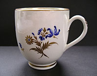 CAUGHLEY PORCELAIN FINE EIGHTEENTH CENTURY ENGLISH PORCELAIN COFFEE CUP  - GILDED BLUE FLOWERS PATTERN C.1780-85