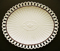 antique pottery image - FINE STAFFORDSHIRE OR YORKSHIRE CREAMWARE ARCADED DISH IN BASKET WEAVE PATTTERN C.1780-1800