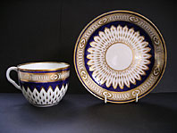 antique pottery image - FINE DERBY REGENCY PORCELAIN MAZARINE BLUE AND GOLD SUNFLOWER PATTERN BREAKFAST CUP AND SAUCER DUESBURY AND KEAN C.1800