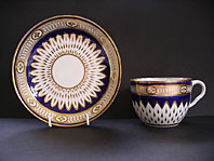 FINE DERBY REGENCY PORCELAIN MAZARINE BLUE AND GOLD SUNFLOWER PATTERN BREAKFAST CUP AND SAUCER C.1810