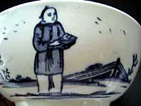 antique pottery image - LIVERPOOL PORCELAIN BLUE AND WHITE CHINOISERIE FIGURES PATTERN BOWL, JOHN AND JANE PENNINGTON C.1770-94