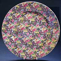 antique pottery image - ROYAL WINTON CHINTZ LARGE ART DECO POTTERY CHARGER OR TRAY FOR DISPLAY, HAZEL PATTERN C.1834-39