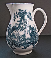 antique blue and white pottery image - WORCESTER PORCELAIN EIGHTEENTH CENTURY ENGLISH PORCELAIN BLUE AND WHITE SPARROW BEAK JUG, THE MOTHER AND CHILD AND MAN FISHING PATTERN BFS II.A.17 C.1775-80