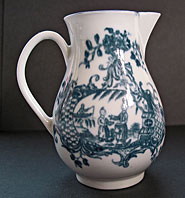 antique pottery image - WORCESTER PORCELAIN EIGHTEENTH CENTURY ENGLISH PORCELAIN BLUE AND WHITE SPARROW BEAK JUG, THE MOTHER AND CHILD AND MAN FISHING PATTERN BFS II.A.17 C.1775-80
