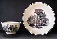 antique pottery image - DR WALL WORCESTER ENGLISH PORCELAIN MILKMAIDS PATTERN TEABOWL AND SAUCER AFTER ROBERT SAYER C.1772