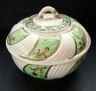 Belleek pottery archive image - BELLEEK IRISH PORCELAIN THIRD BLACK MARK CELTIC PATTERN RARE SUGAR BOWL AND COVER C.1926-46