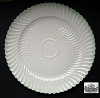 Belleek pottery archive image - BELLEEK PORCELAIN SECOND BLACK MARK SCROLL PATTERN BREAD PLATE C.1891-1926